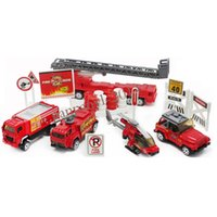 Cheap Mini 1:87 Fire Rescue Engine Truck Helicopter Alloy Diecast Model Child Toy Car Set 20pcs Free Shipping Type-A