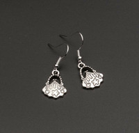 brass wire - Earring Antiqued Silver Floral Handbag Purse Charm Earrings With Plated silver Fishhook Ear Wire X14 mm mn43