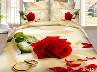 Cheap 7pcs 3D Red rose print California king bedding set quilt duvet cover designer fitted bed in a bag sheets bedspread queen size 100% cotton