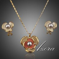 earrings and necklace sets - AZORA Classic K Real Gold Plated Flower Design Clip Earring and Pendant Necklace Set TG0023