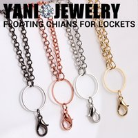 Wholesale Mix Color Alloy Floating Locket Chain Necklace Alloy Metal Rolo Link Long Chain For Glass Living Memory Locket