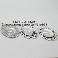 cabochons - set Antique Silver Alloy Cameo mm Oval Cabochon Pendant Settings Clear Glass Cabochons