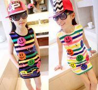 summer wear - 2014 New Arrival Summer Girls Dress Kid Lovely Sleeveless Dresses Child Colorful Smile Face Dressy Kid Multi color Stripe Tank Wearing I0005