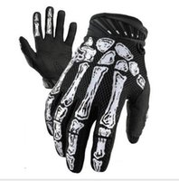 Nylon bicycle skeleton - Tactical Airsoft Ghost claw Full Finger White Skeletons Motorcycle bicycle Wearable Microfiber antiskid Skull Gloves for Racing Cycling