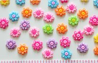 Cheap 220pcs Flatback Cute Polka Dot flower Cabs 18mm DIY , scrapbook, hair bow and flower centers, embellishment sunflower resin