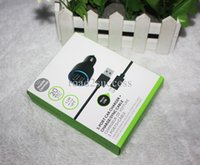 Wholesale 50pcs Port USB Car Charger with USB Cable mini car charger for mobile phone with package