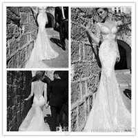 Cheap Galia Lahav Sexy 2015 Backless Pearls Chains Long sleeve Lace Full Tulle Skirt Train Mermaid Wedding Dresses Bridal Gown Dresses