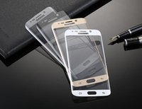 Wholesale Samsung S6 Edge Screen D Protector tempered glass Full Cover Curved Glass H Hardness Explosionproof Screen Protector Film with Retailbox