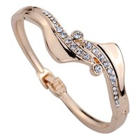 Wholesale Unique Design Rose Gold Wave Design Inlay Ful Crystal Chain Link Bangle Bracelet