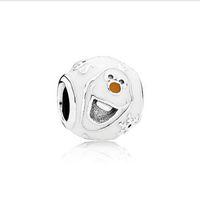 enamel charms - 2015 New Sterling Silver Licensed Disne y Olaf Charm Pendant Bead with White Enamel Fits European Pandora Charm Bracelets Necklaces