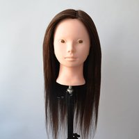 Wholesale R J Dummy Manequin Cosmetology Heads Dark Brown Human Hair Training Mannequin Head With Human Hair Mannequin T010
