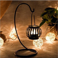 Wholesale Creative Retro Iron Chandelier pumpkin candle lamp wrought iron candlestick furnishing articles Family pumpkin Candle Holder