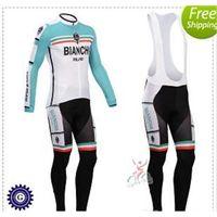 bianchi winter - 2015 new Bianchi Green Cycling Jerseys Long Sleeve Bicycle Wear Winter Thermal Fleece Bike Wear Bib Pants Ultra Breathable Bike Shirts