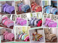 Wholesale 4 Bedding Set New Print Microfiber Bed Set Duvet Cover Bed Sheet Pillowcase Bedding Sets bedclothes cover for bed XHT