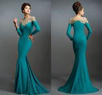 Cheap Long Sleeve Mermaid Evening Gowns Sheer Neck Party Dresses Long Elegant Prom Dresses Arabic Formal Evening Dresses Robe De Soiree JZL01