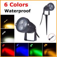 оптовых 12v led garden light-9W светодиодный светильник лужайки сада свет 12V IP68 водонепроницаемый наружного освещения Зеленый Желтый Красный Синий Белый 3 * 3W СИД лужайки Spike пятно света Оптовая