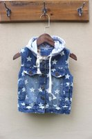 add vest - New Autumn Winter fashion baby boys star print with hooded washing denim vest add thick children s jacket jeans clothing