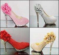 Cheap Four Colour Wedding Shoes Sparkling Flowers 10 CM high Heels Pink Silver Golden Red Party Prom Shoes Women's Shoes High Quality Bling H