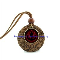 avatar leather necklace - New Design Round Wood Necklace Fire Pendant Avatar the Last Airbender jewelry Glass Dome Necklace WL