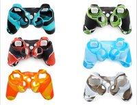 Contrôleur ps4 couvercle du boîtier France-HOT coloré camouflage Soft Silicone Skin Housse de protection pour PS3 PS4 Game Controller joystick Livraison gratuite