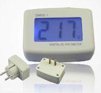 Wholesale 80 V LCD AC Digital Voltage meter Voltmeter Switch EURO Round Plug Volt Power Monitor AC Panle Meter blue backlight