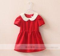 red velvet flower - Autumn Children Velvet Clothing Girls Lace Flower Neck Dresses Kids Fashion Short Sleeve Princess Dress Childs Party Dressy Red Navy M2111