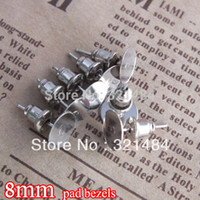 Wholesale set rhodium plated mm pad bezels resin rose flower cabochon setting cameo base earring post with stoppers