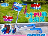 Wholesale ScooterSupply of new scooters for children three breaststroke third gear adjustable damping with three luminous double stroller brake