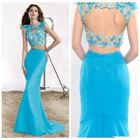 Cheap 2015 Mermaid Two Pieces prom Dresses 2405 Crew Sweep Train Aqua Marine Backless Capped Sleeveless Beaded Crystal Applique Evening Gowns