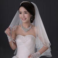 beaded headwear - Inexpensive wedding Bridal Veil Headwear With Comb Beaded Edge Two Layer Net wedding Hair Accessories