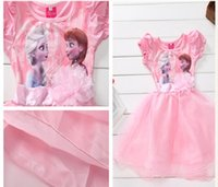 disney wholesale - new arriva lbeautiful baby girl s dress frozen dress short sleeve dress Girls frozen children clothing