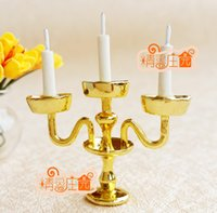 Wholesale Cute mini European and American style of home accessories and fashion ornaments Candlestick Golden decoration Candle Holders mini ornaments