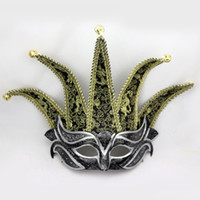 accessories decor - 5 Horns Venice Half Face Mask Fashion Bells Decor Performance Mask Masquerade Party Cosplay Costume Accessories Christmas Gift SD387