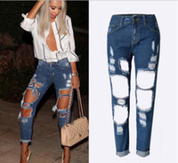 Wholesale New Fashion Women s Sexy Full Length Destroyed Ripped Distressed Denim Harem Pants Boyfriend Jeans