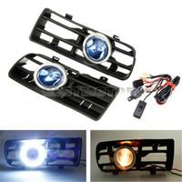 Wholesale Bumper Grille Grill Front Blue LED Fog Angel Eyes Lamp Lights For VW Bora V