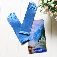 Cheap Kids Girls Disney Frozen Elsa Princess Blue Gloves Costume