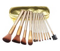 Wholesale 2015 HOT NEW Nude Makeup Brushes Nude piece Professional Brush sets Gold package or Black Package