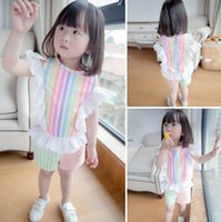 striped pants clothing - Girls Clothes Summer Kids Clothing Sets Korean Children Lace Colorful Striped Outfits Girl T shirts Tops Shorts Pants Short Pant I3838