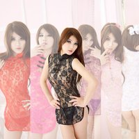 Wholesale Women s classical Chinese style cheongsam sexy transparent lace pajamas multicolor adult game sexy lingerie