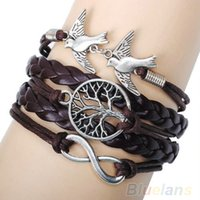 Wholesale Handmade Multilayer Horse Love Friendship Lovebirds Braided Leather Cuff Bracelet Bangles Chain for Women E