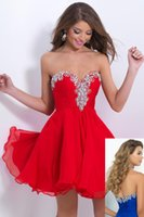 Wholesale Sweetheart Crystal Chiffon Cocktail Dresses Red Beaded Bodice Backless A Line Short Prom Gowns Homecoming Dress For Junior BL9883