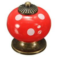 home furniture decoration - Vintage Dot Round Ceramics Drawer Knob Door Cabinet Cupboard Kitchen Pull Handle Home Furniture Hardware Handles Decoration
