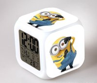 Wholesale Minions LED Colors Change Digital Alarm Clock Gifts Anna Elsa Olaf Thermometer Night Colorful Glowing Toys Despicable Me