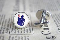 australian cufflinks - 10pairs Australian Peace Sign Cufflinks Cuff Gift for Him Round Glass Cuff