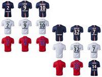 Wholesale Soccer Jerseys Paris Saint St Germain PSG Football Uniforms Kits Discount Cheap Thailand Top Ibrahimovic David Luiz Cavani T Silva Blue Red