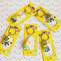 Wholesale 3D Despicable Me Minion Action Figure Keychain Keyring Key Ring Cute Promotion Gifts Card Package low price with the best quality