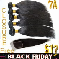 Wholesale BLACK FRIDAY Free Lace Closure A Straight Virgin Human Hair Extensions Virgin Brazilian Malaysian Peruvian Indian Hair Weave