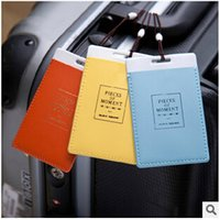 Wholesale 2015 Fashion Leather Luggage Tags Travel Paper Suitcase Tag Carrying case Tag Packet Label Wrap Easily recognizable Bag Parts With lanyard