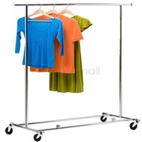 adjustable hanger rod - US Shipping Garment Rack Adjustable Rod Stand Movable Shelf Frame Hanger Market Showing Scalable Stand
