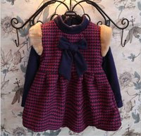 houndstooth dress - Houndstooth Dresses for Girls Butterflyknot Fur Warm Tutu Dress Winter Girl Dressy Children Clothes Rose Red DHL EMS FEDEX ARAMEX Free K2661